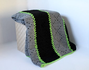 Afghan - Handmade Crochet Blanket - Black and Greay with Bright Green Accent