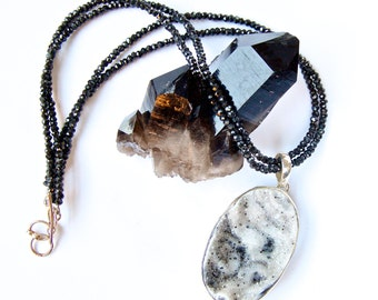 Druzy-White+Black Stone Pendant-Black Onyx double strand-Beaded Choker-Oval shape pendant-Sterling Silver Pendant-Necklace