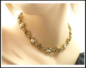 Pearl & Gold Choker / Necklace, White Pearls in Gold, Chunky Necklace, Bridal Choker, Gift For Her