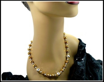 19 Inch Gold & Silver Crystal Necklace Choker, Metallic Silver Choker, Gold Crystal Necklace, Crystal Choker, New Old Stock, Gift For Her