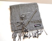 """Vintage 90s cashmere long scarf black white made in Scotland  11.5"""" x 68"""" houndstooth burgundy scarf  Gift Accessory"""