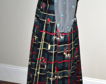Vintage  Equestrian  Plaid midi cotton Skirt Norman  70's pleated horse lovers hunting dogs skirt size 8 Fall winter fashion.  made in USA