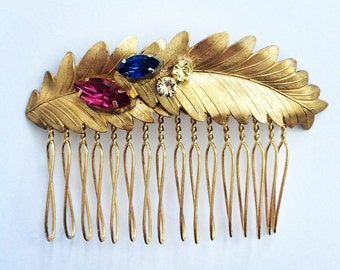 Swarovski Crystal Gold Metal Leaves Hair Comb, for Bridal, weddings, evening, parties, special occasions