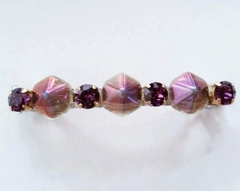 Pink Rainbow Hexagon Purple Swarovski Crystal French Barrette, for weddings, parties, evening, special occasions