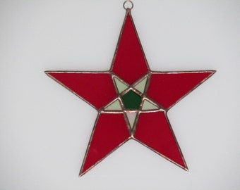 Stained Glass Red and Green Star Suncatcher - Price Includes Shipping