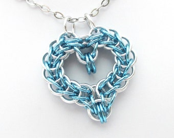 Turquoise heart pendant, chainmail full Persian heart necklace