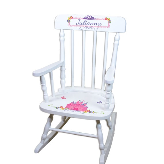 Princess Rocking Chair Girls Custom Childs Rocker Pink Castle Disney ...
