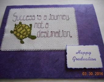 completed cross stitch graduation card Success is a journey not a destination. Happy Graduation