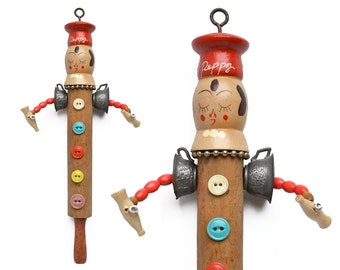 little Chef Pepper an original altered art doll ornament, mixed media assemblage by Elizabeth Rosen