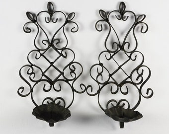 Mid Century Sconces in Black Iron Scroll Work / Candle Sconce Pair