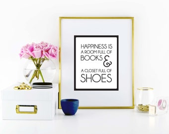 Books and Shoes Print \\ ACD Original Quote