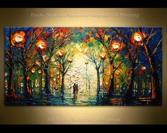 Oil painting on canvas  Evening Walk Palette Knife landscape art P Nizamas ready to hang