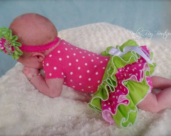 Beautiful Parley Ray Baby Girls Lime Green and Pink Polkadots all around Ruffle Skirt Ruffled Baby Bloomers/ Diaper Cover / Photo Props