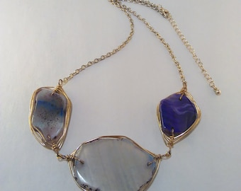 "Gold and Purple ""Agate"" Tumbled Glass Necklace"