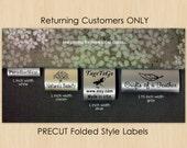 300 PRECUT FOLDED Custom Satin Clothing Labels for Returning Customers Only ~ TagsToGo