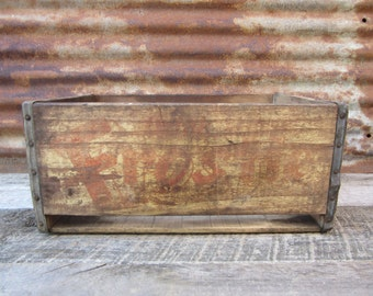 Antique Wood Crate Wooden Box Kecks Frostie Beverages Kecksburg Pa Crate Box Aged Chippy Primitive Distressed and Old Primitive Storage
