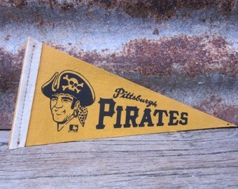 Vintage Baseball Pennant Pittsburgh Pirates 4x8 Inch Distressed Pennant Mini Flag 1960s Era Collectible Vintage Sports Stocking Stuffer