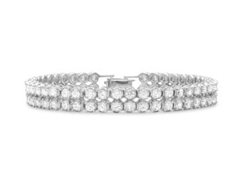 Sterling Silver 7.5 inch Rhodium Plated 2 Row 4mm CZ Bracelet