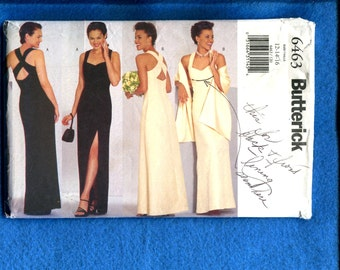 Butterick 6463 Cross Back Evening Dress with High Side Seam Slit Size 12  14  16 UNCUT