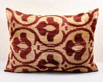 Silk Velvet Ikat Pillow Cover Lp5, Bohemian pillow, Velvet Ikat Pillow, Velvet Pillow