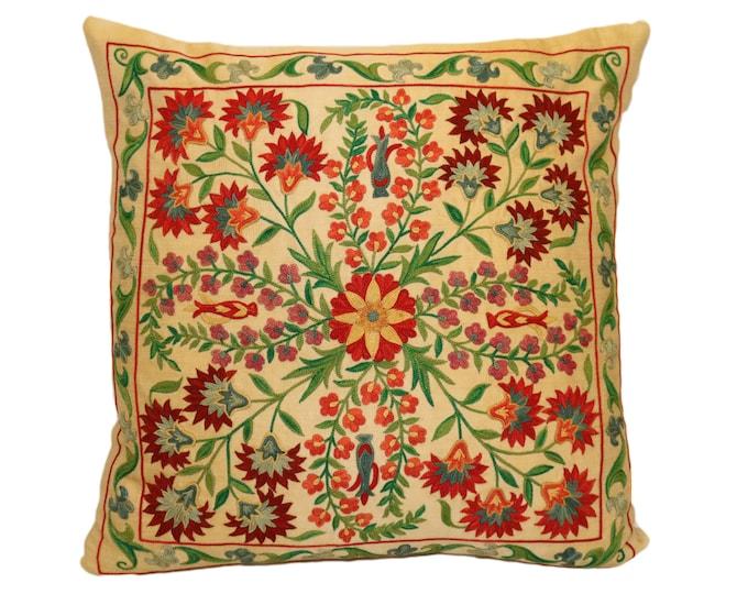 Handmade Suzani Silk Pillow Cover EMP903, Suzani Pillow, Uzbek Suzani, Suzani Throw, Suzani, Decorative pillows, Accent pillows