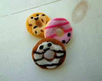 Doughnut Magnets/ Needle Felted/ Set of 3/ OOAK