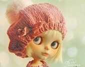 Reserved COTTON CANDY Beret For Blythe By Odd Princess Atelier, Hand Knitted Hat, Winter Outfit