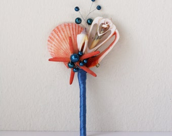 Navy blue coral boutonniere. Seashell boutonniere.