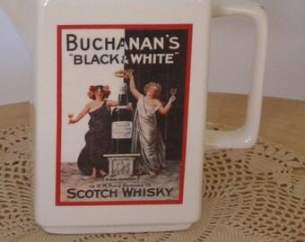 BUCHANAN'S Vintage Black and White Scotch Whiskey Advertising Pitcher