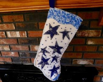 Handmade Christmas Stocking, Handsewn White Felt Sparkly Blue Star Stocking, OOAK, Lined Holiday Stocking