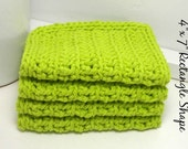 Lime Green Cotton Dishcloths - Eco Friendly Dishcloths - Lime Crochet Dishcloths - Set of 4