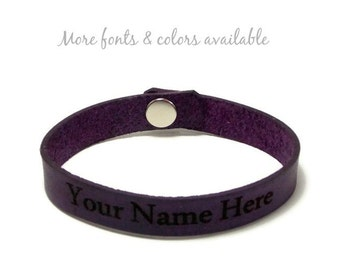 Personalized Leather Bracelet, Custom Laser Engraved Name Bracelet, Gifts Under 15