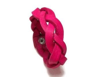 "8"" Mystery Braid, Braided Leather Bracelet, Braided Bracelet, Pink Leather Bracelet, Gifts Under 15"