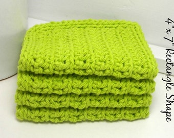 Lime Green Cotton Dishcloths, Eco Friendly Kitchen Cloths, Lime Crochet Dishcloths, Reusable Dishcloths, Eco Friendly Kitchen Gift, Set of 4