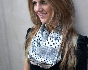 Polka Dot Scarf, Lightweight Scarf, Infinity Scarves, Eternity Scarf, Double Loop Scarf, Womens Scarf, Womens Gift, Ready to Ship