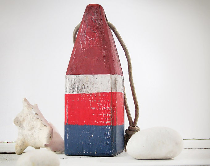 "Blue, White, Red, Beach Decor, 11"" Vintage Lobster Buoy, Nautical, Wooden, by SEASTYLE"