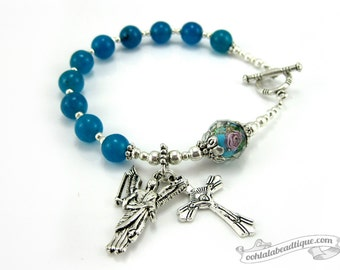 Blue Rosary bracelet St Michael medal single decade rosary Confirmation gifts Catholic Rosaries silver rosary Catholic jewelry religious