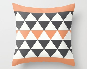 3 colours, Bold Triangles Pillow, Faux Down Insert, Charcoal Black, Peach Rose pillow, Geometric Cushion cover, Indoor or Outdoor cover