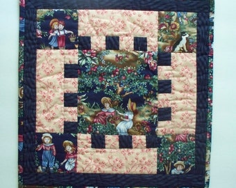 Quilted Table Topper - Vintage Style - Hand Quilted -  Small Medallion Quilt - Square Table Mat
