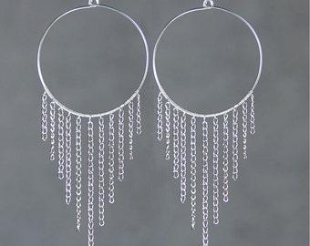 Sterling silver chandelier hoop earrings handmade US free shipping Anni Designs