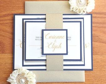 Simple Wedding Invitation, script wedding invitation, champagne and navy blue wedding invitation, Invitation set with bellyband, Corianne