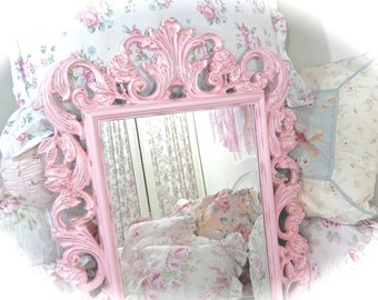 SUMMER SALE Shabby Vintage Baroque Ornate Rose Petal Pink Wall Accent Roses Scrolled Carved Fancy Posh Princess Mirror Cottage Chic