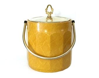 Vintage Faux Leather Ice Bucket, Mustard Yellow