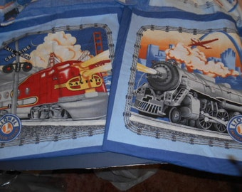 Lionel Trains and Santa Fe,  fabric panel, Pillow, Quilt