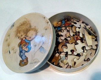 """Vintage 80's """"BETSEY CLARK COLLECTIBLES"""" Circular Puzzle & Glass Ornament"""