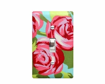 Tumbled Rose Switchplate / Baby Girl Nursery Decor Light Switch Plate Cover / Girls Room Bedroom Pink Aqua Green Flower by Amy Butler