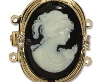 3 Strand Cameo Clasp Gold Plated Box Clasp 30X24mm With Crystals Quality German Made Push Pull Clasp