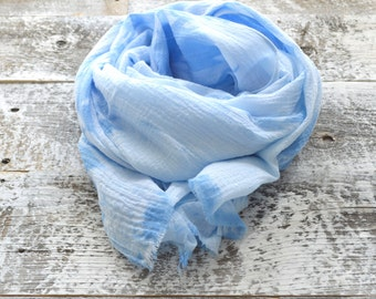 Sky Blue Shibori Scarf - 25 x 68 inches