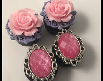 2 PAIRS Pink Rose Gem Silver Girly Ear Guages Plug