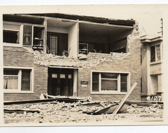 Long Beach Earthquake Damage Vintage Real Photo Postcard Building Collapse RPPC Paper Ephemera Antique Architecture Macabre